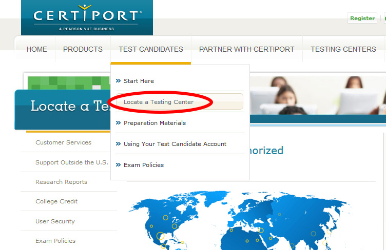 Testcentersuche auf der Webseite von www.certiport.com