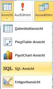 Wechsel zur SQL-Ansicht