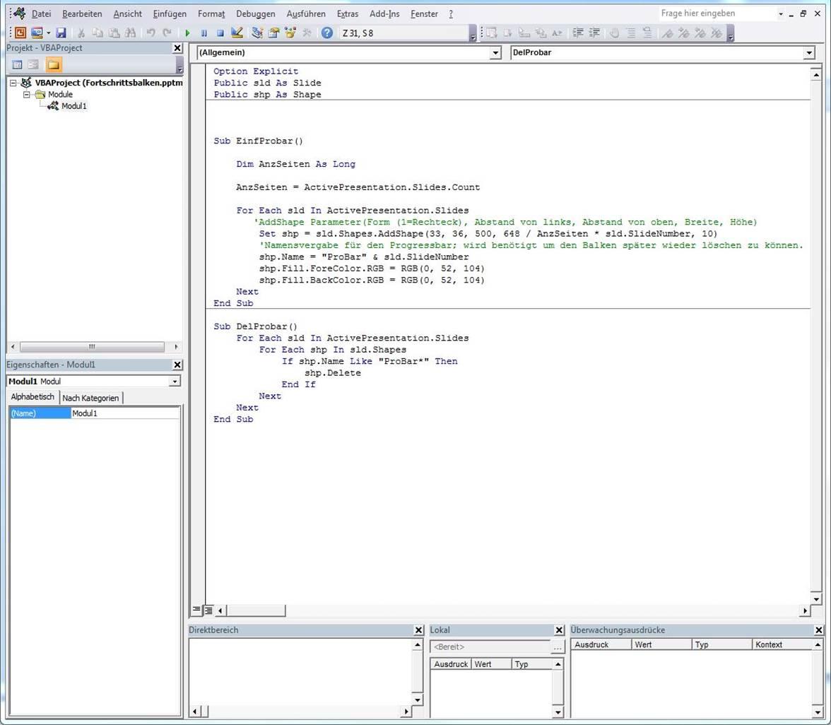VBA Code Fenster mir eingefügtem Code