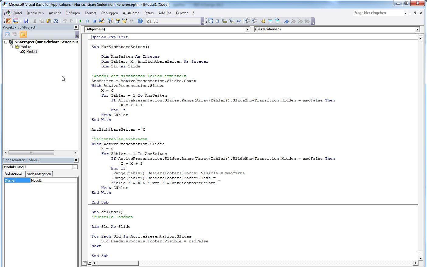 VBA Modul mit Quellcode