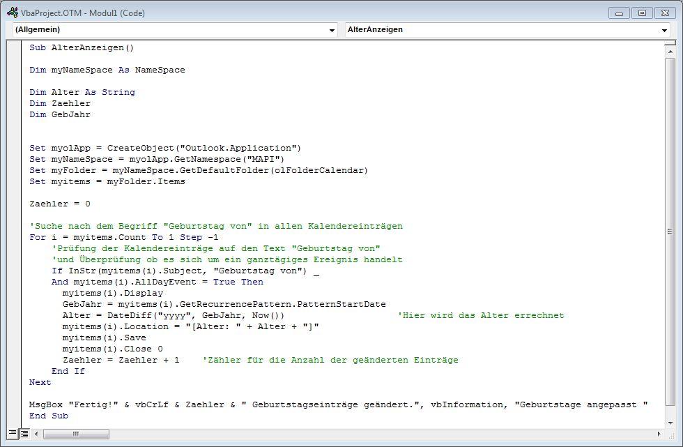 Modulfenster mit eingefügtem VBA Code
